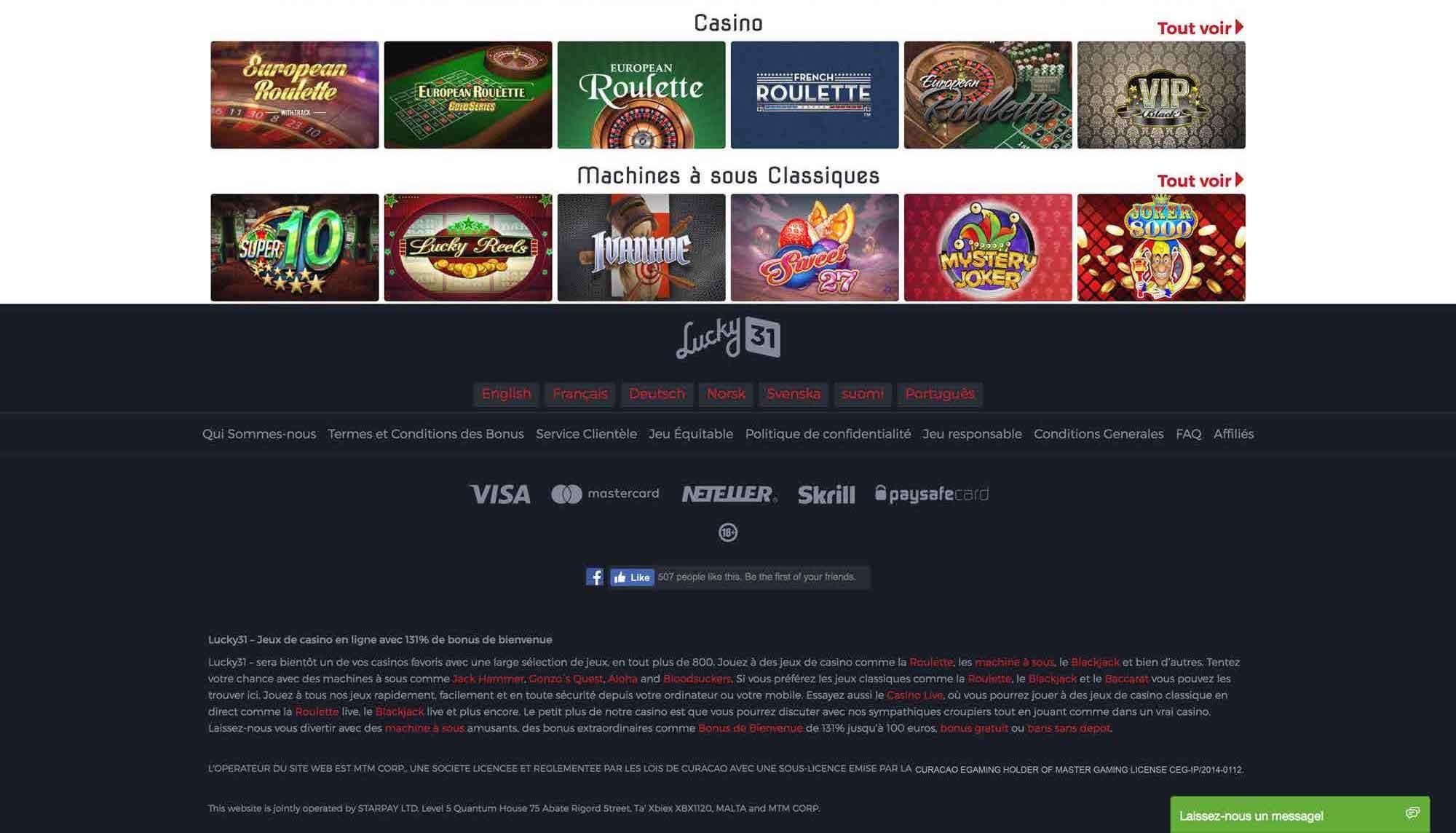 Lucky 31 casino avis
